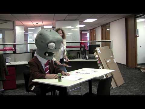 cartoon zombie by desk